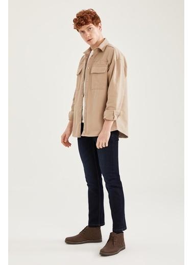 DeFacto Oversize Fit Uzun Kollu Gömlek Ceket Bej